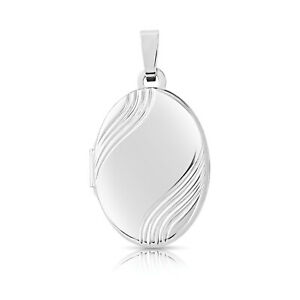 Jewelco London 9ct White Gold Satin Groovy Waves Oval Locket Pendant 12x18mm