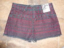 Miss Selfridge Shorts Size 10 BNWT £32 Aztec Pattern Denim High Waisted Dress Up