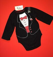 NEW 'Tuxedo' Tux Baby Boys Graphic Dress Shirt 0-3 6 9 Months Gift Bodysuit CUTE