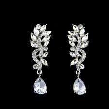 Diamante Crystal Marquise Dangle Earrings Teardrop Rhinestone Bridal Earrings