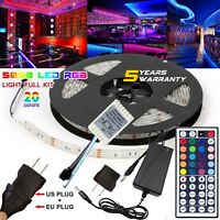 5M Waterproof LED Strip Light US/EU Power Full Kit SMD 44 Key Remote RGB 5050