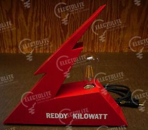 REDDY KILOWATT ALUMINUM METAL TABLE LAMP ART LINEMAN AND ELECTRICIAN'S GIFT