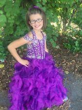 Beautiful glitzy purple long pageant dress cutout back  girls size 6/8