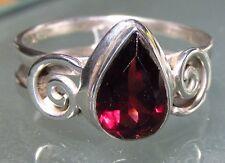 Sterling 925 silver tear drop everyday cut garnet ring UK P/US 7.75