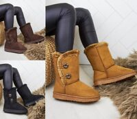 Ladies Womens Genuine Faux Fur Sheepskin Ankle Boots Rubber Sole Hug Boot Size