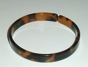 """CUFF BRACELET FAUX TORTOISE TURTLE SHELL 3/8"""" WIDE CUFF BROWN HONEY AMBER COLORS"""