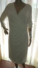 Ralph Lauren 3/4 Sleeve Lighthouse White Surplice Dress Size 14 - NWT!