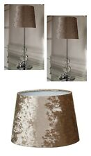 Luxe Crushed Velvet 2 Table Lamp Bedside Tablelamp Gold - Lamps & Shade Bundle