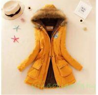 New Women Coat Jacket Big Fur Collar Slim Fit Korean Warm Military outfit Cotton