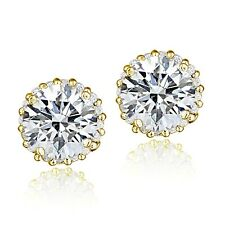 Gold Tone over Sterling Silver 100 Facets Cubic Zirconia Halo Stud Earrings (3ct