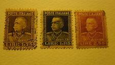 VITTORIO EMANUELE III NUOVA EFFIGIE 1927 3 VALORI USATI 1,75 1,85 2,55 LIRE