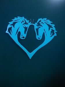 "Heart Shaped 2 Horse Heads Cut Metal Art * Turquoise 10"" W x 9"" H"