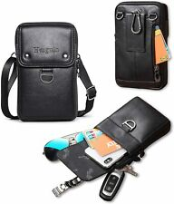 Leather Belt Bag for Men Crossbody Holster Cellphone Shoulder Strap Belt Clip