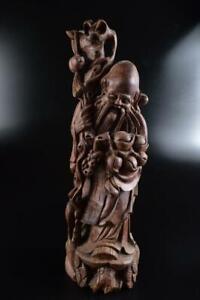 #7096: Japanese Wooden Peach hermit Doll STATUE Buddhist art