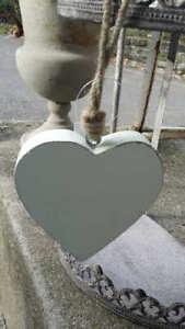 Herz Holzfigur Pastellweiss medium 13x12x2,5cm - wooden heart Hängedeko X-Mass