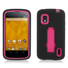 T-Mobile LG Nexus 4 Impact Hard Rubber Case Phone Cover Kick Stand Black Pink