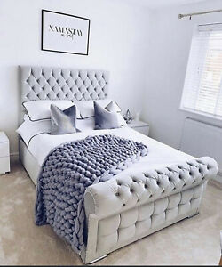 New Crushed Velvet Chesterfield Bed With Memory Foam Spring Mattress