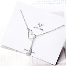 925 Sterling Silver Double Heart Pendant Necklace For Women Valentine's Day