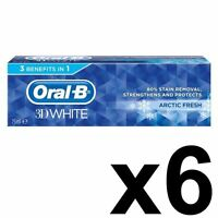 6 x Oral-B 3D White Arctic Fresh Mint Toothpaste Whitening Enamel Protect - 75ml
