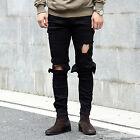 Men's Straight Hole Slim Fit Jeans Biker Distressed Ripped Runway Skinny Pants
