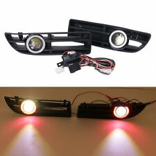 For 1999-2004 VW JETTA BORA Front Bumper Grilles + Red Angel Eyes LED Fog Lights