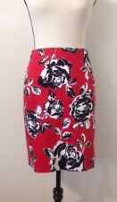 Jones New York Signature Skirt Sz 8 Rockabilly Fitted Red Floral Above Knee