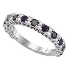 10k White Gold Round Black Diamond Wedding Anniversary Band 1.00 Ctw