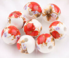 Loose Beads Round Wholesale Ceramic With Hole Porcelain Flower Jewelry Pendants