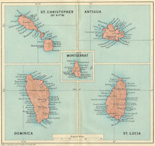 WEST INDIES. Dominica St Kitts Antigua St Lucia Montserrat 1931 old map