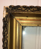 Antique Gilded Wood Picture Frame OLD WAVY GLASS Gesso Gold Gilt Vintage