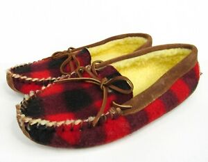 GreatLand Red Buffalo Plaid Suede Moccasin Slippers Mens 8 NEW Fleece Lined