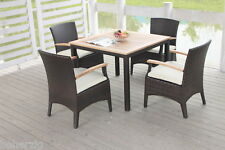 Poly-Rattan Gartenmöbel 4 Personen Tisch Set Teakholz Essgruppe dunkelbraun FSC