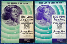 IRENE DUNNE - JUST LET ME LOOK + U COULDN'T..- (2) SHEET MUSIC PIECES - ART DECO