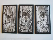 Wolves in Winter Wall Decor Plaques 3pc set black white wolf aspen trees lodge