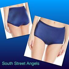 VANITY FAIR 13138 TIMES SQUARE NAVY BLUE  Body Caress SATIN BRIEF Panties XL / 8