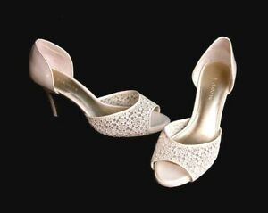 Liz Claiborne IVORY White D'Orsay Heels Lacey JANNA 8.5 M Bridal Wedding Shoes