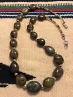 #990 Green Pebble Dragon Skin Turquoise, Heishi, Sterling Silver Beads And Clasp