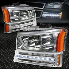 CHROME HOUSING HEADLIGHT+LED DRL BUMPER LIGHT FOR 03+ CHEVY SILVERADO/AVALANCHE