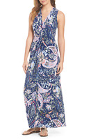TOMMY BAHAMA $175 Soft Stretch Knotted Paisley Promenade Maxi Dress Size Small