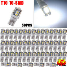 50x Pure White 360° T10 10-SMD Car Interior LED Bulbs W5W 168 194 2825 175 906