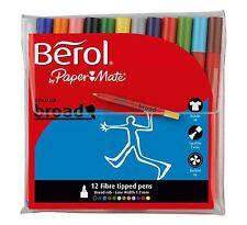 Berol Colour Broad Fibre Tip Pens. 12 Assorted Colours