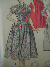 Vintage Advance 6566 PUFF SLEEVE BLOUSE w RIBBON LACED NECK Sewing Pattern Women