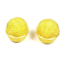 (E21) 2x Mesh Microphone Grille Fits Shure SM58 565SD-LC Microphone ,Gold Plated