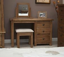 Tilson solid rustic oak furniture dressing table with stool and mirror
