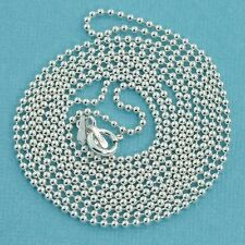 """1.5MM Sterling Silver Ball Chain Necklace With Springring Clasp 30"""" Length"""