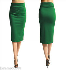 Womens SLIM FITTED WEAR to WORK Career CASUAL Pencil MAXI Midi SKIRT DRESS (4XL)
