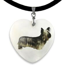Skye Terrier Natural Shell Mother Of Pearl Heart Pendant Necklace Chain PP42