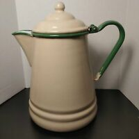 Graniteware, enamelware beige with green trim lidded coffee pot