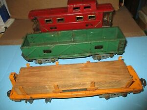 "O Scale American Flyer 9"" tin Hook Coupler Freight Cars Lumber Flat, Gon 1932-37"