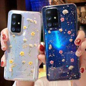 For Samsung S21 S20 FE A21S A51 A71 Pressed Real Flower Glitter Clear Case Cover